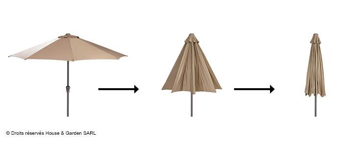 Parasol droit taupe