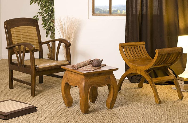 fauteuil en teck et bambou