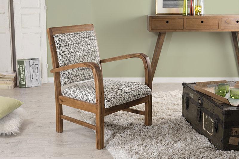 fauteuil en teck et coton