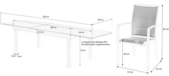 Dimensions détaillées table et fauteuils modulo
