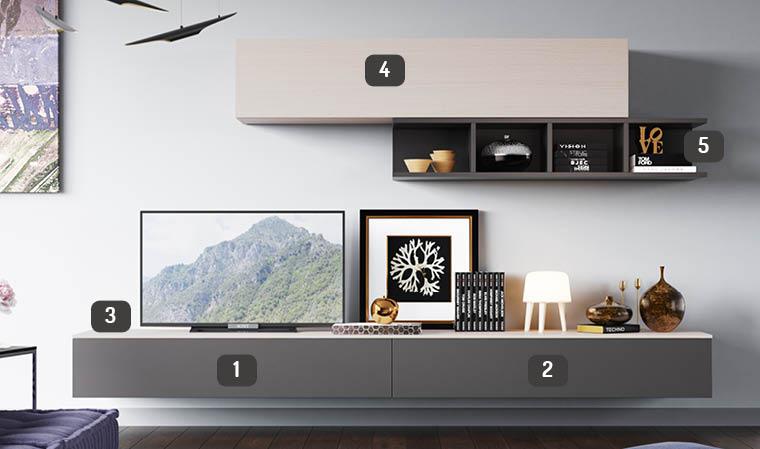 meuble télé design bois clair et gris