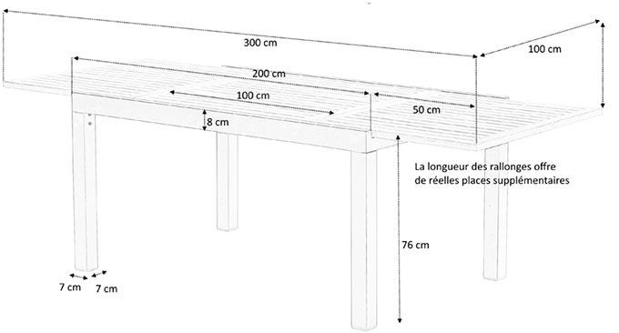 Dimensions table bali